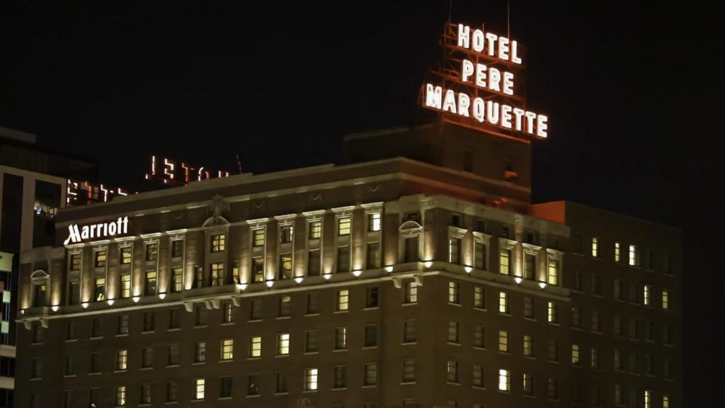 Pere Marquette Hotel Night scene