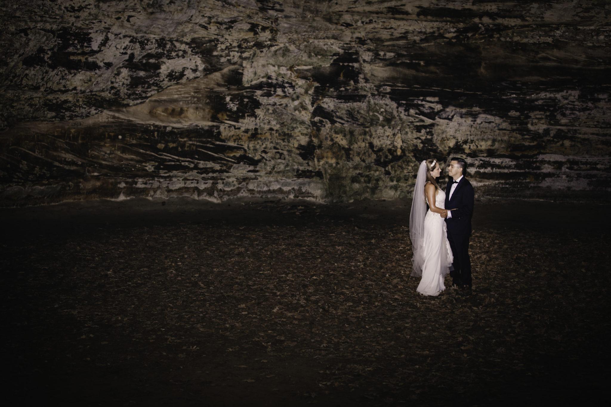 Bride and Groom Dancing in Starved Rock Caves.